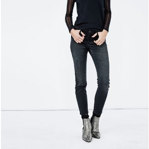 SLIM-FIT JEANS WITH FAUX SUEDE PATCH