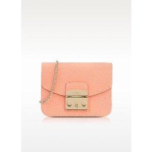 Furla Peach Leather Metropolis Mini Crossbody Bag