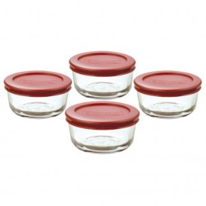 Anchor Hocking 8pc Glass Kitchen Storage w/ Red Lids
