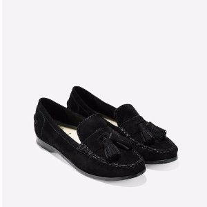 Pinch Grand Tassel Loafers in Black Suede | Cole Haan
