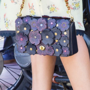 Floral Applique Leather Clutch