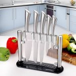 Utopia Kitchen 430 Grade Stainless Steel 6 Piece Knives Set (5 Knives plus Acrylic Knife Stand)