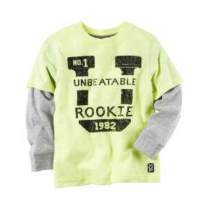 Toddler Boy Long-Sleeve Layered-Look Neon Unbeatable Rookie Graphic Tee | Carters.com