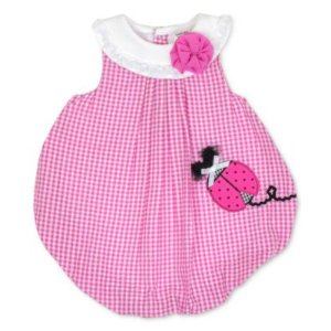 Baby Essentials Gingham Ladybug Cotton Bubble Romper, Baby Girls (0-24 months)