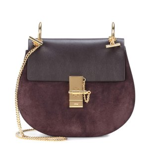 Drew suede and leather shoulder bag
