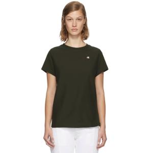 Champion Reverse Weave: Khaki Small Logo T-Shirt