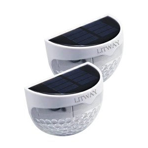 LITWAY Solar Fence Light Semi-circle Outdoor Wall light Warm Decorative Lighting 4Pack