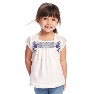 Embroidered Crepe Top for Toddler Girls