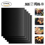 Meerveil BBQ Grill Mat (Set of 5) , Non-Stick, Reusable BBQ Grill & Baking Mats Easy to Clean, This Best BBQ Accessories for Charcoal, Electric, Oven, Microwave Grill and More - 15.75 x 13 Inch