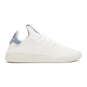adidas Originals x Pharrell Williams - White & Blue Tennis Hu Sneakers