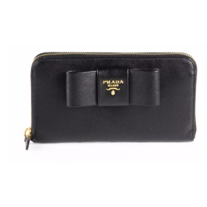 Prada - Saffiano Bow Zip-Around Wallet - saks.com