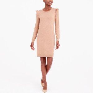 Ruffle-hem sweater dress