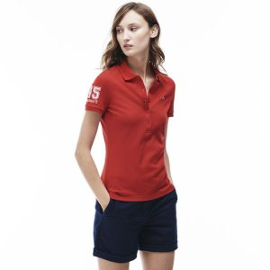 Women's Slim Fit Stretch Piqué Polo Shirt | LACOSTE