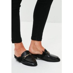Missguided - Black Faux Fur Slip On Mules