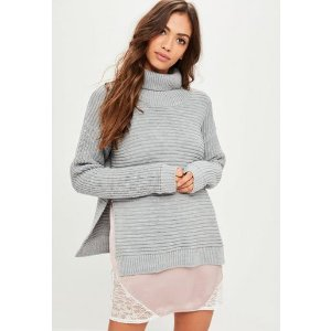Missguided - Gray Roll Neck Step Hem Knitted Sweater