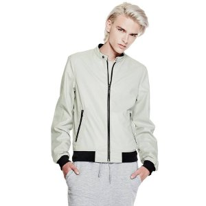 Faux-Leather Bomber Jacket | GUESS.com