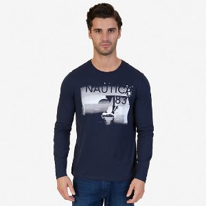 White Lines Graphic Long Sleeve T-Shirt