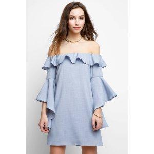 Wayf Off-Shoulder Ruffle Dress   South Moon Under