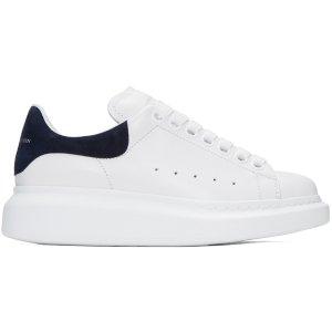 Alexander McQueen: White & Navy Oversized Sneakers