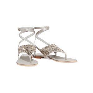 Crystal-embellished metallic satin sandals | René Caovilla | US | THE OUTNET
