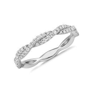Pavé Twist Diamond Ring in 14k White Gold (1/4 ct. tw.) | Blue Nile