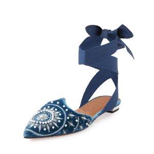Aquazzura Stellar 绑带丝绒鞋