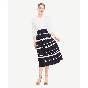 Stripe Pleated Midi Skirt | Ann Taylor