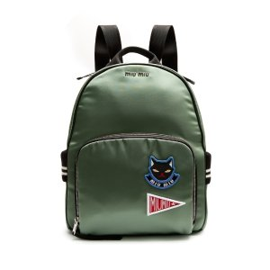 Badge-appliqué satin backpack | Miu Miu |