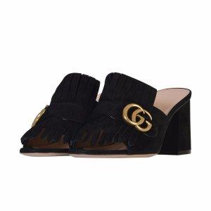 Gucci - Gucci Suede Mid-heel Slide - 458051 C20001000, Women's Shoes | Italist