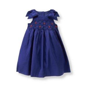 Deep Royal Blue Silk Smocked Dress at JanieandJack