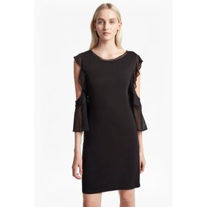 Ruffle Mix Jersey Cold Shoulder Dress