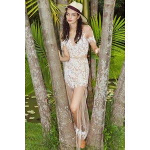 For Love & Lemons Luau Maxi Skirt in White