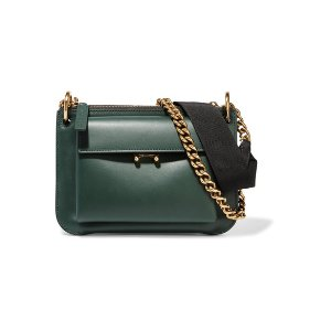 Pocket two-tone leather shoulder bag