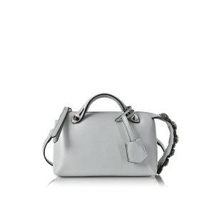 Fendi Pearl Gray Leather Mini By The Way w/Smoky Quartz Crystals