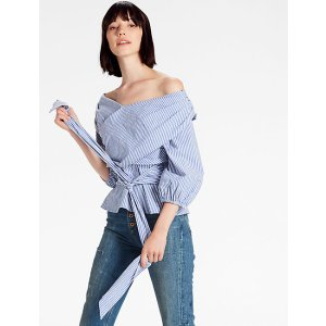Tie Front Puff Sleeve Top   Lucky Brand