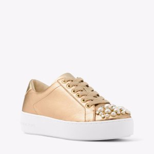 Poppy Embellished Metallic Leather Sneaker