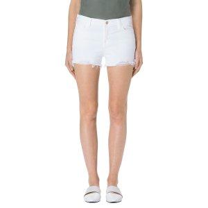 1044 Mid-Rise Short Raw Hem in Razed Blanc | Denim Shorts | J Brand