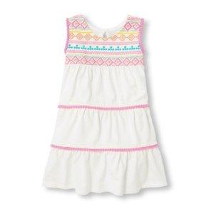 Toddler Girls Sleeveless Embroidered Print Pom Pom Tiered Knit Dress
