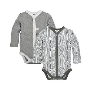 2 Pack Woodgrain Organic Cotton Bodysuits