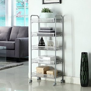 Homfa 5-Tier Mesh Wire Rolling Cart Multifunction Utility Cart Kitchen Storage Cart on Wheels, Steel Wire Basket Shelving Trolley,Easy moving,Grey