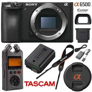 Sony ILCE-6500 a6500 4K Mirrorless Camera w/ Tascam DR-40 Recorder Kit