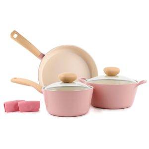 Neoflam Retro 5 Piece Ceramic Nonstick Cookware Set, Mint - Traditional - Cookware Sets - by Neoflam