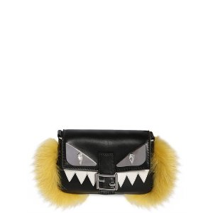 FENDI - MONSTER MICRO BAGUETTE LEATHER BAG W/FUR - SHOULDER BAGS