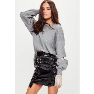 Grey Lace Cuff Knitted Jumper | Missguided