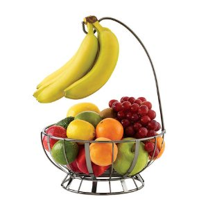 Buy Gourmet Basics Stripe Gunmetal Fruit Basket With Banana Hanger online at Mikasa.com
