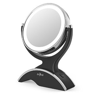 Makeup Mirror LED Lighted with 1X / 7X Magnification, Anjou Vanity Mirror Battery Powered, Removable, Double Side, 360° Rotation for Countertop Cosmetic Makeup with 3 Free...