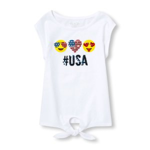 Girls Americana Short Sleeve Embellished Graphic Tied-Front Top | The Children's Place