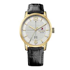 DRESS WATCH WITH WHITE FACE & LEATHER STRAP 			 			1791218
