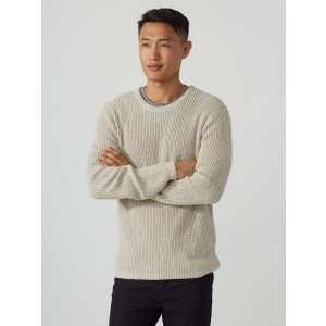 Twisted Cotton-Blend Sweater in Mixed White