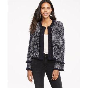 Textured Fringe Sweater Jacket